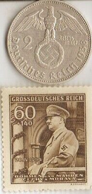 *us-*WW2-silver NICKEL(350%)+*german(625%) coin/rare STAMP()