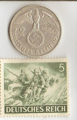 "*us-WW2-silver NICKEL(350%)+*german(625%) coin/rare STAMP(""MOTORCYCLE COMMADO'')"