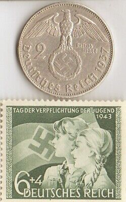 *us-WW2-silver NICKEL(350%)+*german(625%) coin/rare STAMP()