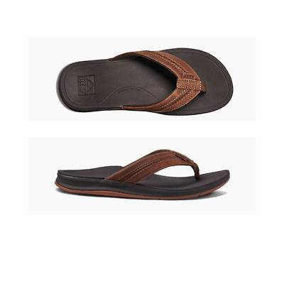 Mens Reef Leather Ortho-Bounce Coast Brown Sandal Flip Flop