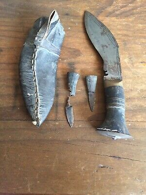 Authentic Antique Handmade Gurkha Knife With Sheaf & 2 Small Sharpening Knives