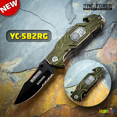 "8"" TAC-FORCE Rangers Spring Assisted Rescue Folding Pocket Knife Glass Breaker"
