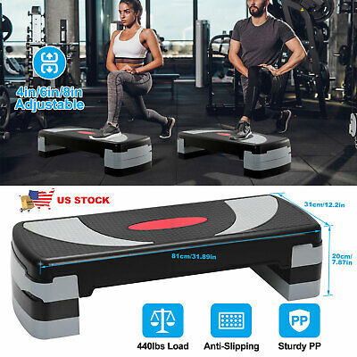 Adjustable 32″Aerobic Step Fitness Workout Cardio Exercise Stepper w/ Risers