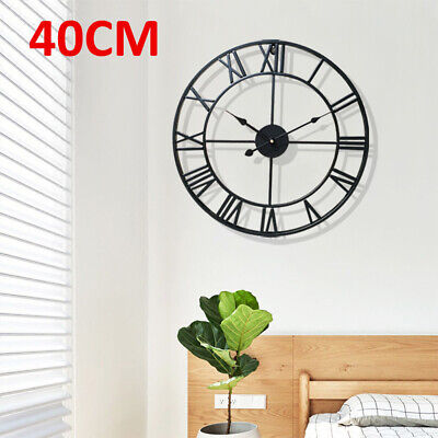 Large Metal Home Wall Clock Big Roman Numberals Giant Open Face 40cm Round