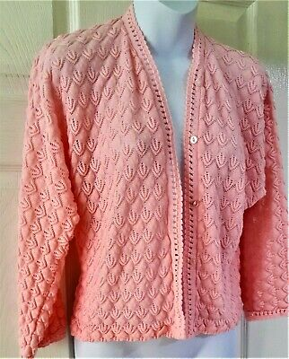 Hand knitted Bed Jacket in Baby Pink Size 34 to 36 Medium VERY LACY Never Used