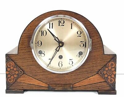 Art Deco German Oak Westminster Chiming Mantle Clock