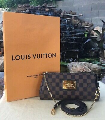 🌺Authentic Louis Vuitton Eva Damiar Ebene Clutch Crossbody (AA4143)+ Shop Bag🌺