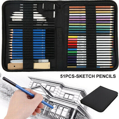 51X Drawing Pencil Sketching Kit Student Graphite Charcoal Coloured Artists Set