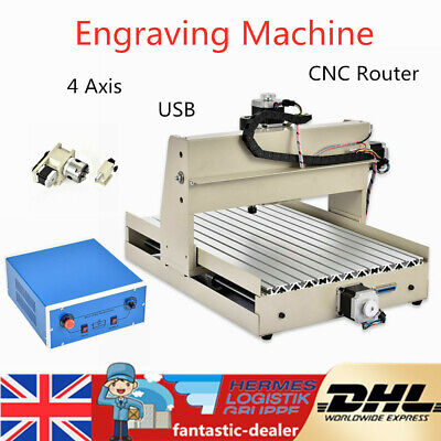3040 4 Axis CNC Router Engraver Wood Cutting Milling Carving Drillin Machine USB