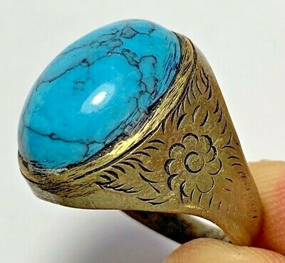 AMAZING MEDIEVAL SILVER RING WITH BLUE VERY RARE STONE 9gr 30.1mm (inner 19.9mm)