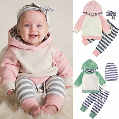 Cute Baby Girl Boy Infant Spring Sweatshirt Hoodies+Pants Outfits Set Tracksuit