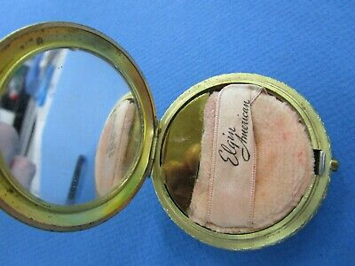 Vintage, American Beauty Elgin America Powder Compact, Gold Tone.