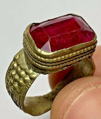 LATE MEDIEVAL SILVERED RING - BRILLIANT  RARE STONE 6.3gr 24.4mm (inner 20.4mm)