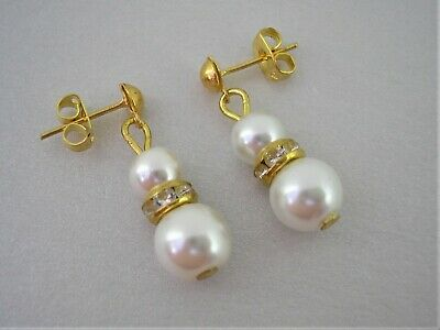 57s Pearl & Diamante Stud Earrings for women girls brides bridesmaids weddings
