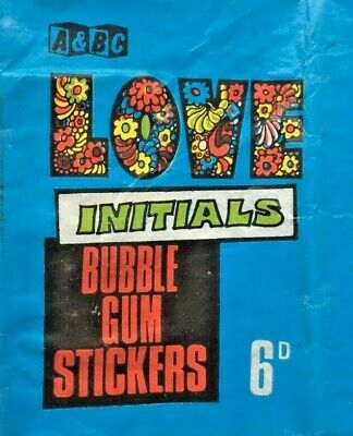 A&Bc Love Initials 6D Gum Sticker Card Wax Wrapper Flawed But Great Colours