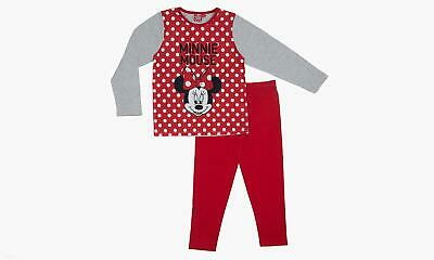 Disney Official Girls Minnie Mouse Pyjamas Pjs Age 5-6 Years Red Grey