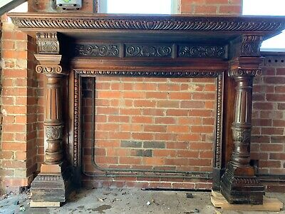 Mahogany  Carved Fireplace Surround 7ft wide by 5ft tall. can deliver in UK