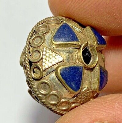 FANTASTIC MEDIEVAL SILVER BEAD WITH RARE STONES LAPIS LAZULI 6.1gr 25.5mm