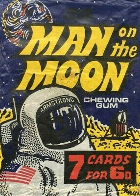 A&Bc Man On The Moon 7 Cards For 6D Gum Card Wax Wrapper Excellent Colours