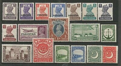 Pakistan 1947 Useful Collection Of Fine Fresh Lightly Mounted Mint Remainders