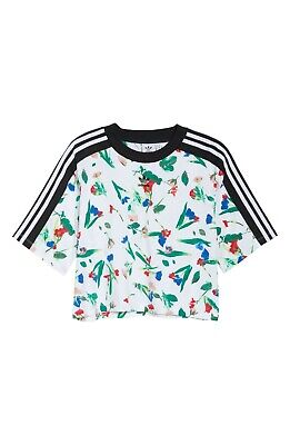 Adidas Originals Women's Cropped Allover Print Tee White/Multicolor ED4742 d