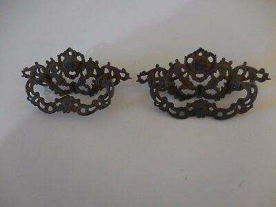 antique pair cast iron drawer pulls art nuveau/flexible hand holds PRICE CUT!