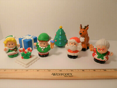 Fisher Price Little People Christmas Figures Lot Santa Mrs. Claus Reindeer