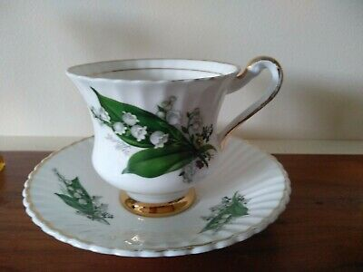 Vintage Lubern Bone China Tea Cup Saucer  Set Lily of the Valley 22kt Gold.