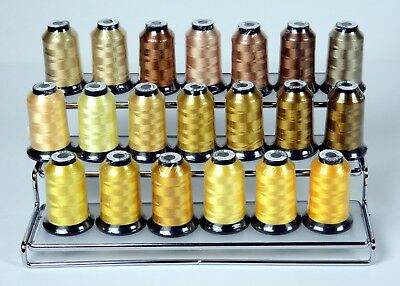 20 Floriani Embroidery Machine Thread Cones Gold, Yellow, Brown, Tan, Cream Sand