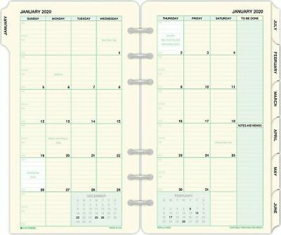 2-Page-Per-Month Tabbed Calendar Refill Portable Size -
