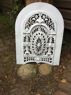 "ANTIQUE ORNATE CAST IRON FIREPLACE COVER INSERT FRONT ~ ARCHED ~ WHITE ~24"" Tall"