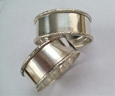 Antique 2 WEBSTER Sterling Silver Napkin Ring w/Repousse Borders - Not Engraved