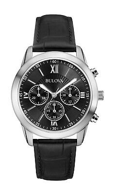 Bulova Men's Quartz Chronograph Black Dial Black Leather 40mm Watch 96A173