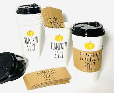 Rae Dunn PUMPKIN SPICE To Go Cups With Lids And Sleeves Set Of 8