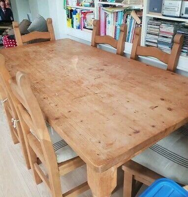 Solid Waxed Antique Pine Farmhouse Table with 6 chairs