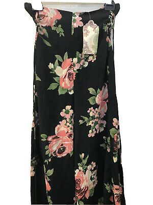 NWT Band Of Gypsies Floral Multicolor Strapless Jumpsuit Wideleg Size S Tie Zip