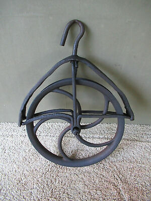 Antique Well Pulley Wheel Vintage Primitive, Wrought & Cast Iron Garden Farm