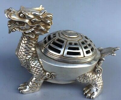 China Collectable Handwork Old Miao Silver Carve Dragon Tortoise Incense Burner