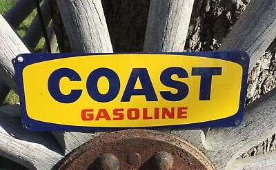 Vintage COAST GASOLINE Gas Oil Service Station Garage Pump Plate Porcelain Sign