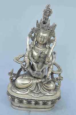 Collectable Handwork MIao Silver Carve Buddha Hold Belle Auspicious Lucky Statue