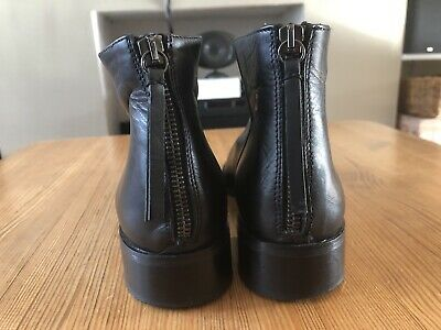 Womens JOHN LEWIS Black Soft Leather Chelsea Ankle Flat Boots Size UK 6