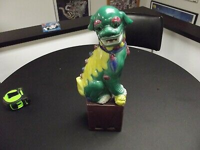 Foo Dog Antique Yellow & Green Chinese Polychrome  Porcelain Vintage China