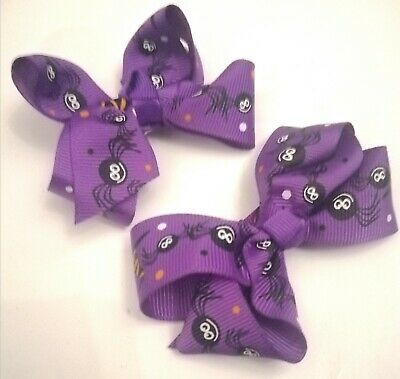 2 X Girls Halloween Ribbon Hair Bows Deep Purple Clips Spiders Witch Hats Cute