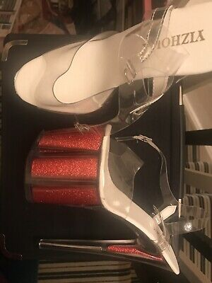 Red Glitter Pole Dancing Shoes. Worn. Size 6. 8 Inch High Heels.