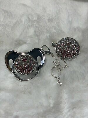 Metallic Bling Romany Style Pink Silver Gem Baby Dummy & Clip Pacifier Soother