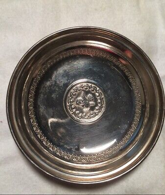 Antique Middle Eastern Ottoman 900 Silver Coin Dish Tray Bowl