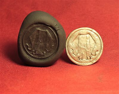 "Medieval Knight's Silver Seal Ring - ""M"" Monogram Seal, 11. Century"