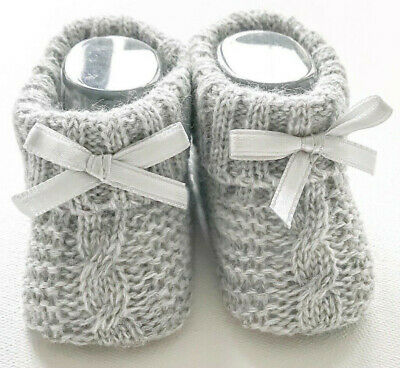Newborn Baby Booties Knitted Cable Bow Spanish Romany Grey Boys Girls Soft Touch