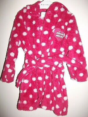 Disney Baby Girls Minnie Mouse Pink & White Fleece Dressing Gown -Age 6-9 Months