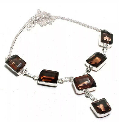 "Natural Cushion Brown Smoky Topaz 925 Sterling Silver Necklace 22"" Handmade"